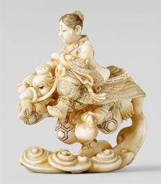 An intricate ivory netsuke of Ushiwakamaru riding a winged tengu, by Mitsuo. Late 19th century, Auktion 1044 Asiatische Kunst, Lot 968