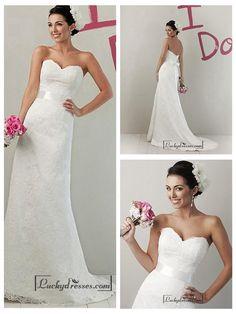 BEAUTIFUL LACE & SATIN SHEATH SWEETHEART RAISED WAIST WEDDING DRESS