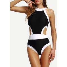 Contrast High Neck Cutout One-Piece Swimwear ($14) ❤ liked on Polyvore featuring swimwear, one-piece swimsuits, black, cut out swimsuit, 1 piece bathing suits, one piece cutout swimsuit, one piece swimsuit and monokini one piece swimsuit