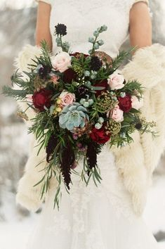 gorgeous burgundy and blue organic bridal bouquets Winter Bridal Bouquets, Winter Wedding Flowers, Bride Bouquets, Bridal Flowers, Flower Bouquet Wedding, Chic Wedding, Floral Wedding, Wedding Colors, Wedding Ideas