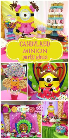 A colorful Candyland girl birthday party featuring Minions with fun centerpieces and decorations!  See more party planning ideas at CatchMyParty.com!