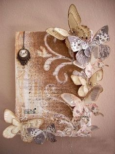 Butterfly canvas **Vinnie Pearce - Art On Wings** - Two. Butterfly canvas **Vinnie Pearce – Art On Wings** – Two… Altered Canvas, Altered Art, Book Crafts, Arts And Crafts, Diy Crafts, Burlap Crafts, Paper Butterflies, Paper Flowers, Beautiful Butterflies