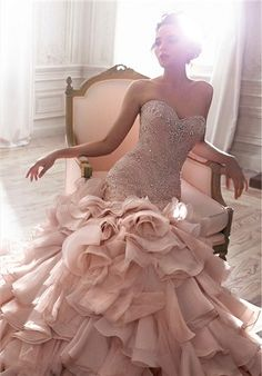 Blush Pink Mermaid Wedding Dresses Sexy Crystal Beaded Sweetheart Beaded Bodice Ruffles Bridal Gowns Custom Made Vestidos De Noiva - Wedding and Bride Maggie Sottero Wedding Dresses, Pink Wedding Dresses, Bridal Dresses, Bridesmaid Dresses, Pink Dresses, Blush Wedding Gowns, Sheath Dresses, Dress Wedding, Dramatic Wedding Dresses