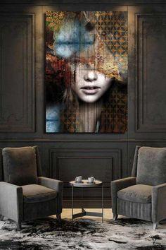 Home Room Design, Room Interior Design, Tableau Design, Art Deco, Arte Popular, Wall Decor, Wall Art, Portrait Art, Contemporary Art