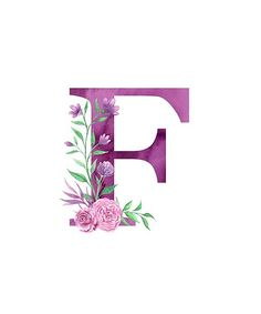 'Monogram F Lovely Rose Bouquet' Poster by floralmonogram Floral Letters, Monogram Letters, Letters And Numbers, Alphabet Images, Alphabet Art, Hand Embroidery Designs, Diy Embroidery, Watercolor Lettering, Hand Lettering