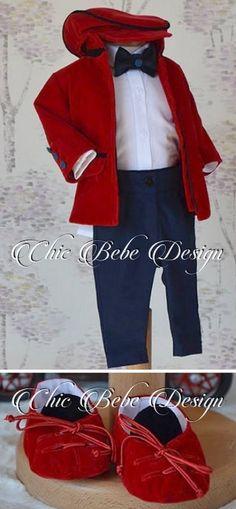 Christening Boy Suit, Baptism Boy Suit, Elegant baptism Suit, Blessing outfit, Wedding Boy Outfit, Baptism Boy Outfit, Ring Bearer Outfit Red Velvet Jacket, Velvet Hat, Boy Baptism, Christening, Baby Boy Suit, Ring Bearer Outfit, Baby Boy Birthday, Boys Suits, Baby Wearing