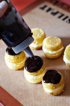 mini muffin pan Boston cream pies