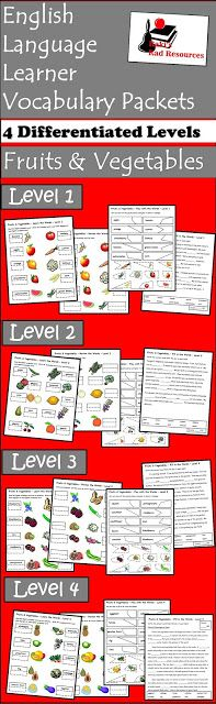 Free fruits and vegetables vocabulary packet from Raki's Rad Resources.