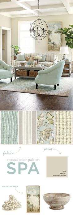 Spa color palette in coastal theme