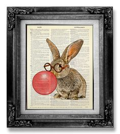 Nerdy Bunny Art Print DICTIONARY ART PRINT Rabbit door GoGoBookart