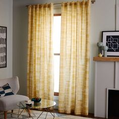 Mid-Century Cotton Canvas Etched Grid Curtain, Horseradish, 48