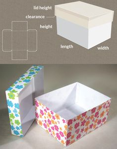 Completely custom sized template for a Box with lid http://www.templatemaker.nl/boxlid