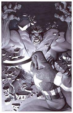 The Hulk vs. Captain America by Chris Stevens * Marvel Comics Superheroes, Hulk Marvel, Marvel Characters, Marvel Heroes, Marvel Art, Avengers, Superman, Batman, Comic Books Art