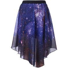 Starry Night Irregular Skirt ($35) ❤ liked on Polyvore