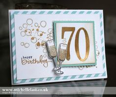 A 70th Birthday card made using the Number of Years Stamps from Stampin Up with matching dies, order from my online shop 24