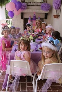 princess tea party. Love the idea of having crowns for all the little girls!