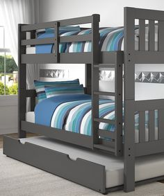 This Dark Gray Mission Twin Bunk Bed & Trundle by Donco Kids is perfect!