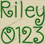 Riley Alphabet Embroidery Design (8 Claws and a Paw)