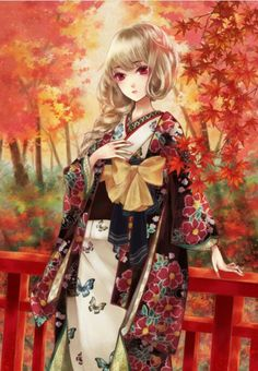Anime girl with blonde hair wearing a floral silk robe on a balcony, in an autumn setting. Anime Girl Kimono, Manga Anime Girl, Anime Girl Cute, Beautiful Anime Girl, Anime Girls, Kawaii Girl, Kawaii Anime, Geisha, Blonde Anime Girl
