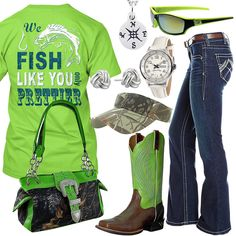 Fish Like You Lime Sport Sunglasses Outfit - Real Country Ladies