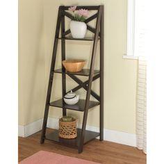 Mainstays Leaning Ladder 5-Shelf Bookcase, Espresso - Walmart.com