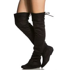 CiCiHot Black Faux Suede Thigh High Boots ($16) ❤ liked on Polyvore featuring shoes, boots, black over the knee boots, black thigh-high boots, synthetic boots, over the knee boots and black shoes