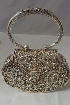 VINTAGE STERLING FLORAL REPOUSSE EVEN. PURSE VICTORIAN LOOK 353 g HARD CASE ++ | eBay