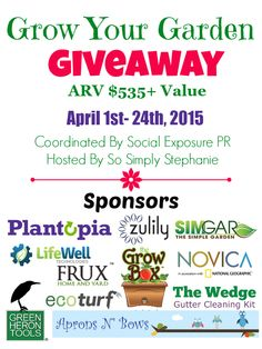 Grow Your Garden Giveaway Event! Over $535 in gardening-related prizes including the SimGar UNO, HERShovel, Zuily & NOVICA gift cards, planters, gardening tools and more! Ends April 24th, 2015! Hosted by Social Exposure PR & So Simply Stephanie!   SoSimplyStephanie.com