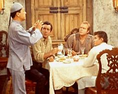 """Bonanza"" -- Hop Sin serves dinner to the Cartwright sons (Adam, Hoss & Joe). Joe Francis, Charlie Chan, Bonanza Tv Show, Pernell Roberts, Sundance Kid, Michael Landon, Tv Westerns, Old Tv Shows, Country Boys"