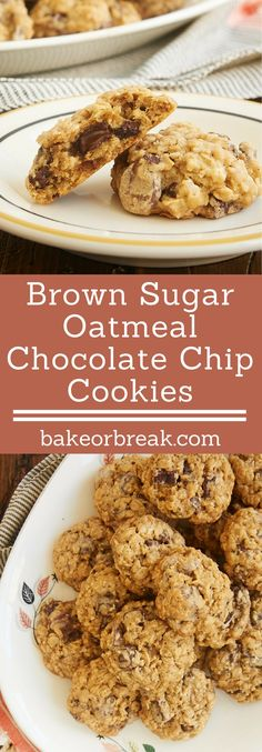 Brown Sugar Oatmeal Chocolate Chip Cookies are one of my favorite cookies. Two kinds of chocolate, all that sweet brown sugar, and those chewy oats make these perfectly soft, chewy, and delicious! - Bake or Break ~ http://www.bakeorbreak.com