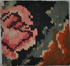 Turkish Handwoven Kilim Rug Pillow Cover Rose Flowers