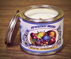 Vintage Style, Vintage Fashion, White Cherries, Soy Wax Candles, Tin, Designers, Organic, Canning, Unique Jewelry