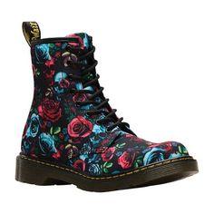 0f0e7c1a5198ac Girls  Dr. Martens 1460 Rose Bootie Youth - Rose Fantasy T Canvas Zipper