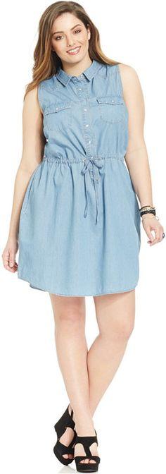 American Rag Plus Size Sleeveless Chambray Shirtdress Web ID: 2063374
