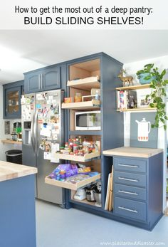 Finishing the Kitchen – Plaster & Disaster Big Kitchen, Kitchen Reno, Kitchen Dining, Kitchen Ideas, Sliding Shelves, Pull Out Shelves, Pantry Makeover, Upcycled Furniture, Kitchen Organization