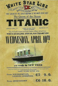 Titanic Its maiden voyage was on April Tickets could be had for and 10 shillings. Five days later, the ship was at the bottom of the ocean. Rms Titanic, Titanic Ship, Titanic Deaths, Vintage Advertisements, Vintage Ads, Retro Ads, Funny Vintage, Top Vintage, Vintage Signs