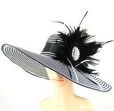 Black and White Kentucky Derby Red Feather Wide Brim Dress Wedding Tea Party USA | eBay