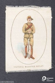 Satin fabric printed with the figure of a soldier of the Victoria Mounted Rifles, Great Britain, ca. 1900-1920. Courtesy MoMu - ModeMuseum Provincie Antwerpen.