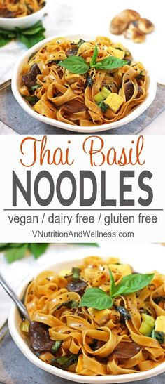These Thai Basil Noodles are perfect if you're craving some bold flavor for dinner. The recipe is easy to make & ready in about 30 minutes. vegan Thai recipe, Thai noodle recipe