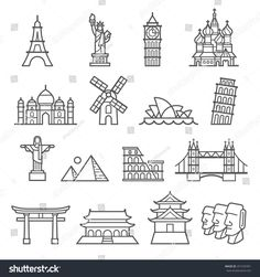Find Landmark Icons Liberty Pisa Eiffel Big stock images in HD and millions of other royalty-free stock photos, illustrations and vectors in the Shutterstock collection. Doodle Icon, Doodle Art, Bridge Tattoo, Bridge Drawing, Travel Doodles, St Basil's, Christ The Redeemer, House Illustration, Easy Drawings