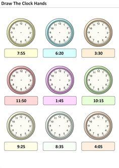 Actividades para niños preescolar, primaria e inicial. Plantillas con relojes analogicos para aprender la hora poniendo la hora en el reloj. Pon las agujas del reloj. 25