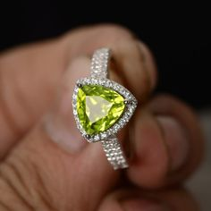 Natural Peridot Ring August Birthstone Ring by KnightJewelry