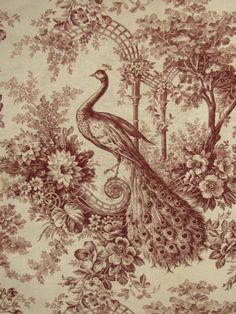Antique French Toile c1890 Peacock