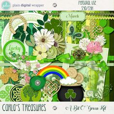 A Bit O' Green Page Kit by Carla's Treasures Designs.