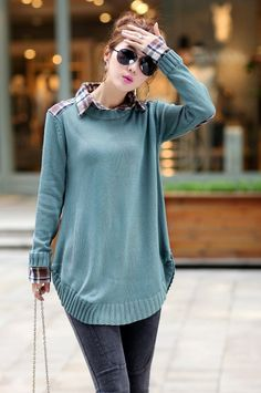 abc7a12116320 2015 Autumn Winter New Plaid Shirt Collar Maternity Sweater Loose Pregnancy  Tops Pullover Coat Clothing for