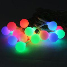 Solar Power LED Bulb Fairy Light Outdoor String Lantern Decor 20 Globes RGB  9M | EBay