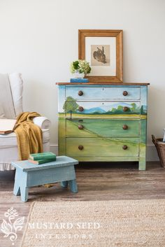 """I finished """"landscape dresser no. 4"""" yesterday and had the chance to style and photograph it today. The prop-pickings were slim in the studio, but I love how everythingcame together to showcase thispiece. As a reminder, here is how the dresser started. It really was pretty as it was, but I've learned that even pretty …"""