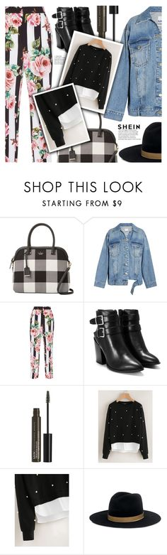 """""""SheIn Pearl Sweatshirts"""" by eclectic-chic ❤ liked on Polyvore featuring Kate Spade, Steve J & Yoni P, Dolce&Gabbana, Nasty Gal, NYX, Janessa Leone, floralpants, denimjacket, bucklebooties and shein"""