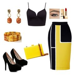 """Sem título #77"" by gabigiandu ❤ liked on Polyvore featuring Boohoo, Serpui, Yves Saint Laurent and AMBRE"