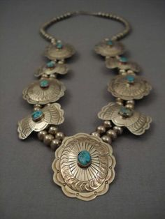 Museum Vintage Navajo Concho Belt Turquoise Silver Necklace Old | eBay